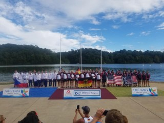 Germany, Hungary, Czech Republic, Italy, France and Switzerland celebrate medals at Dragon Boat ...