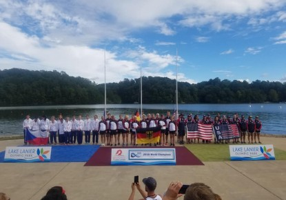 Germany, Hungary, Czech Republic, Italy, France and Switzerland celebrate medals at Dragon Boat World Championships